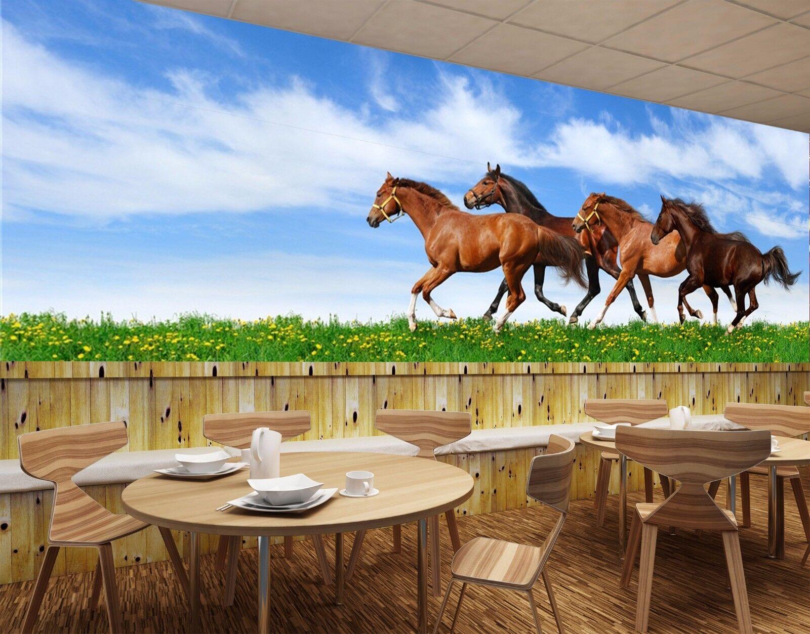 3D Gallop Horses 744 Wall Paper Murals Wall Print Wall Wallpaper Mural AU Kyra