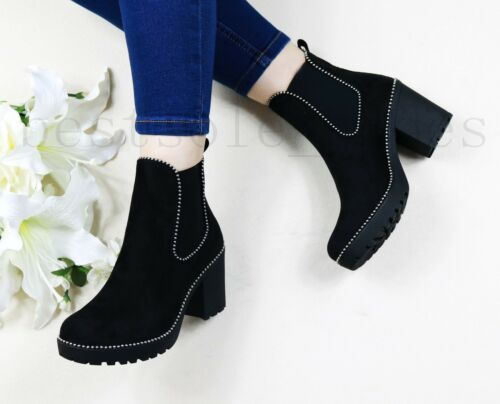LADIES WOMENS STUDDED PLATFORM ANKLE BOOTS MID HIGH BLOCK HEEL DETAIL SHOES SIZE