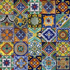 Details About 40 Mexican 6x6 Talavera Tile Mix   Stair Risers