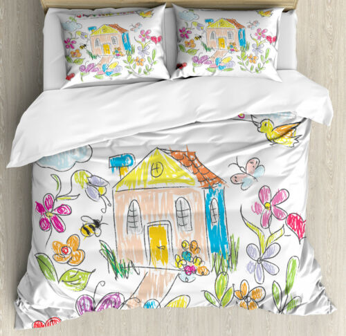 Home Sweet Home Duvet Cover Set Twin Queen King Sizes with Pillow Shams