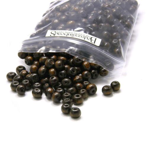 100 Dark Brown Coated Boxwood Wooden Wood Round Rondelle Craft Beads Small-Big