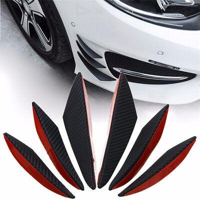 6Pcs Carbon Faser Schwarz ABS Auto Vorne Stoßfänger Finnen Spoiler Flügel Lippe