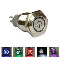 12V KFZ Einbauschalter Drucktaster Taster Druckschalter LED Beleuchtet Ø16mm