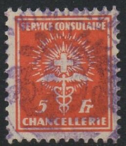 Suiza 1924 ingresos servicio consular fiscal 5 FR Excelente sello desquiciado Usado