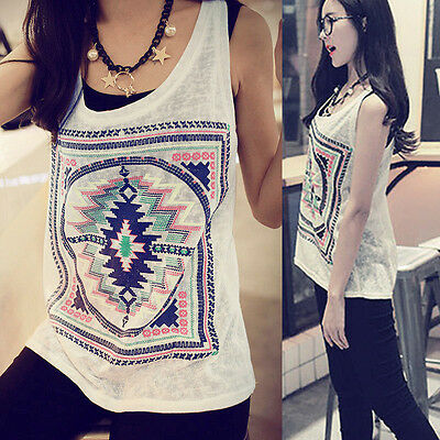 Sexy Fashion Summer Vest Sleeveless Blouse Casual Tank Tops T-Shirt White Womens