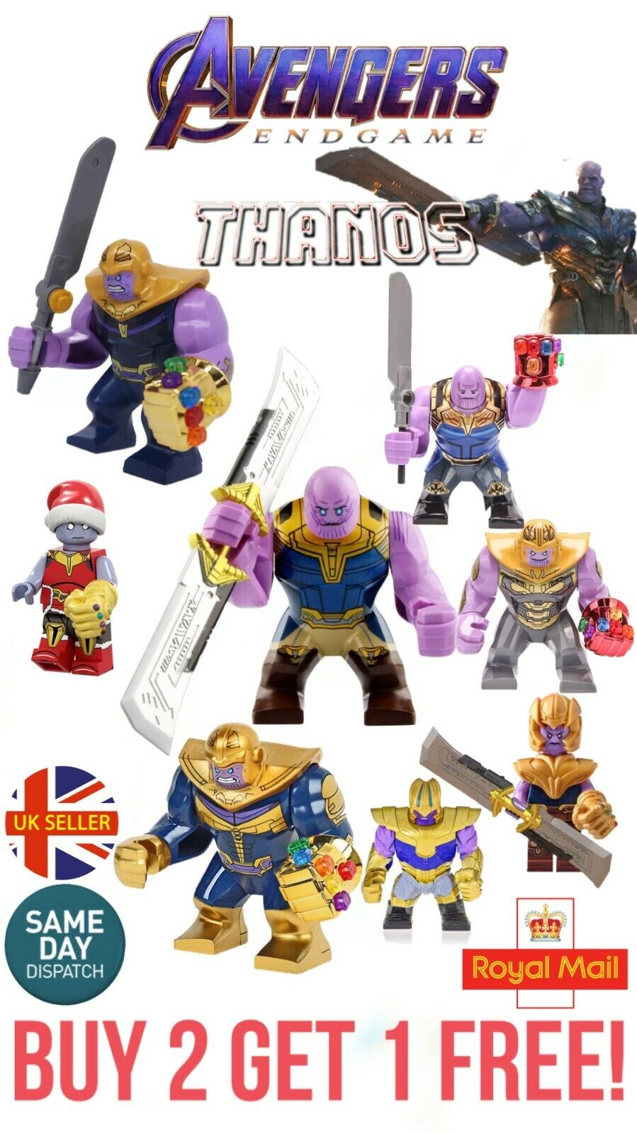 Thanos Mini Figure Iron Man Infinity Gauntlet Hulk Avengers Marvel UK Seller