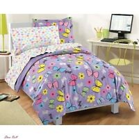 Teen Girls Bedding Butterfly Set Floral Purple Comforter Twin Machine Washable