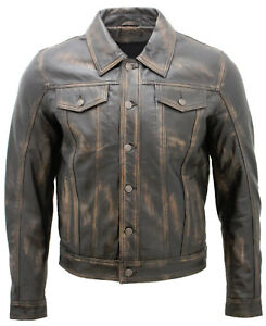 41220a9e61020 homme camionneur SLIM MOULANT décontracté vintage cuir noir chemise ...