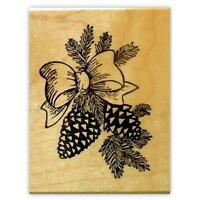 Pine Cones & Bow, Mounted Christmas Rubber Stamp 7
