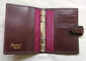 Filofax File Organiser Leather NEW SLIM POCKET BURGUNDY 15mm RING Diameter