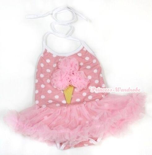 Light Pink White Minnie Dot Halter Pink Ice Cream Jumpsuit Pink Baby Dress NB-2Y