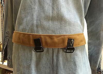 Vintage Diesel Cintura Unisex Cotone & Leather Color Senape & Marrone Made Italy Piacevole Al Palato