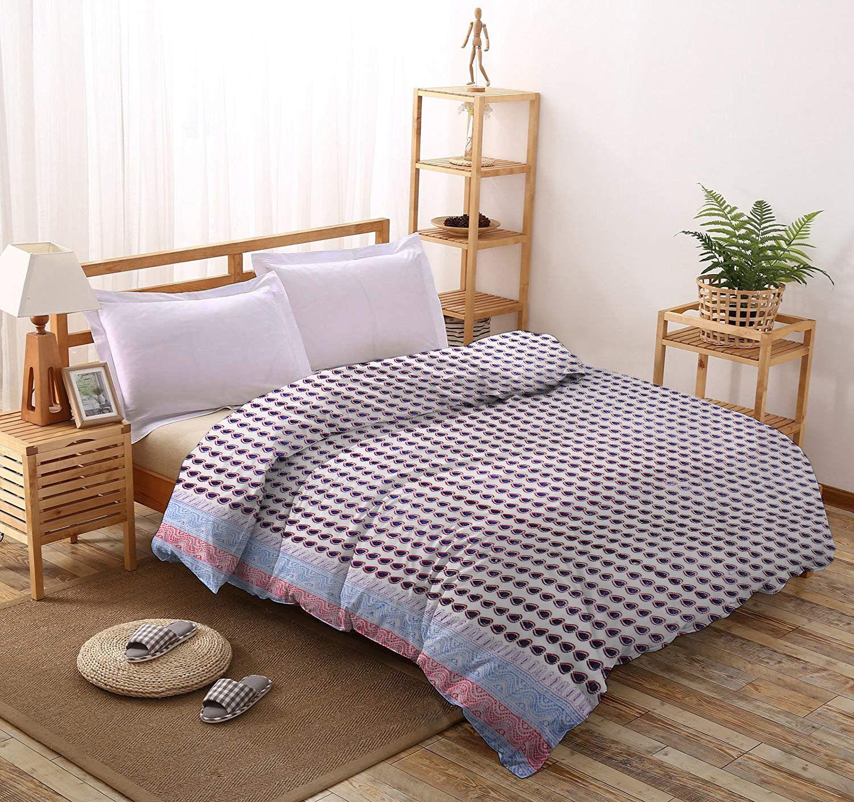 Indian Paisley Printed Quilt Cotton Queen Blanket Comforter Jaipuri Rajai Duvet