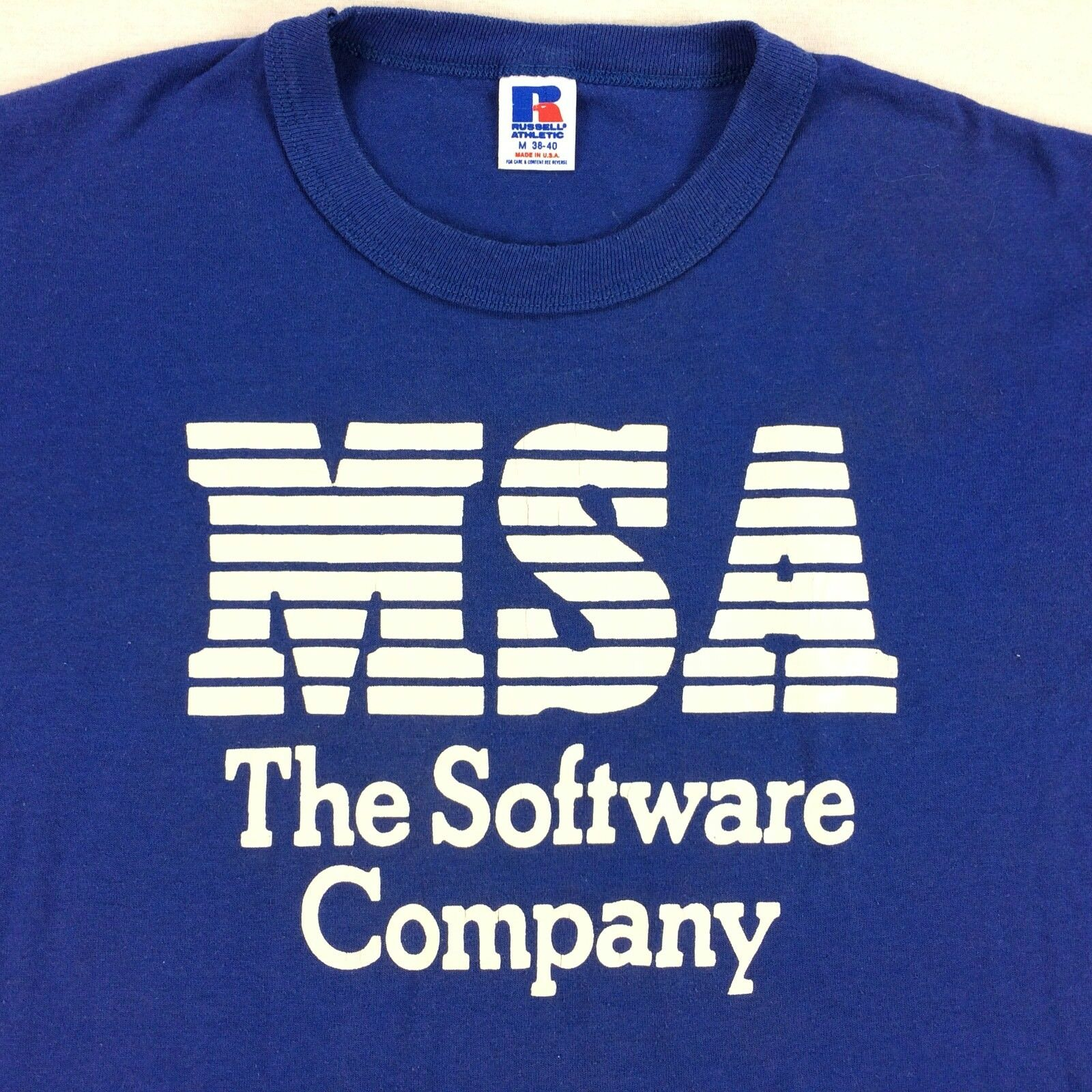 Vintage USA Made MSA Software Company T-Shirt Sz MEDIUM M Blau Russell Athletic