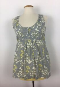 0a9a965135f07 White Stuff Grey Cotton Floral Smock Style Tie Back Top Size 12 - (B5 ...
