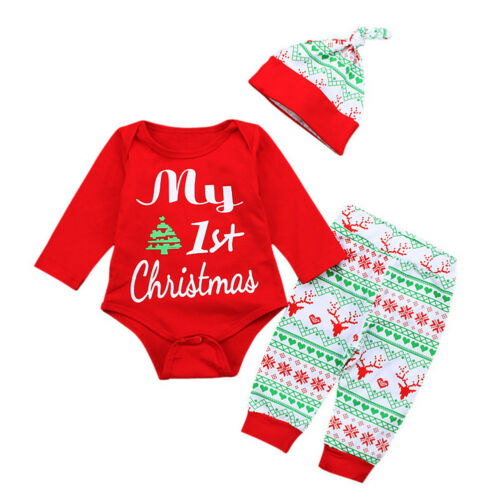 Fancy Costume Romper Pants Hat Outfits for My First Christmas Girl Toddler Baby