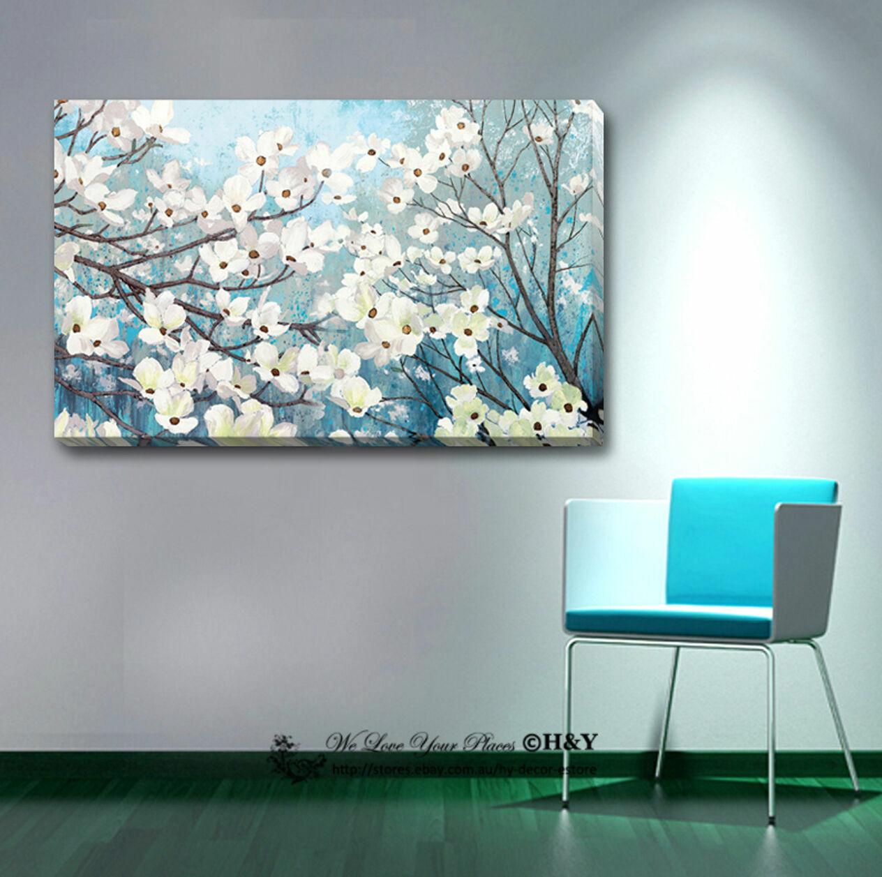 Blossom Stretched Canvas Drucken Framed Wand Kunst Home Office Decor Gift Blau Weiß