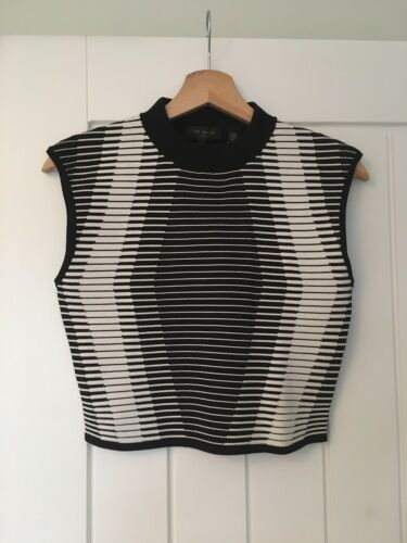 High Top Rrp£89 Baker Ted Knitted Neck Crop Size Benee Stripe Uk12 Geometric BX8OwqPSx
