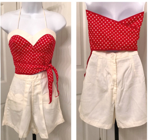 Vintage 1940s 1950s play suit short set halter hig