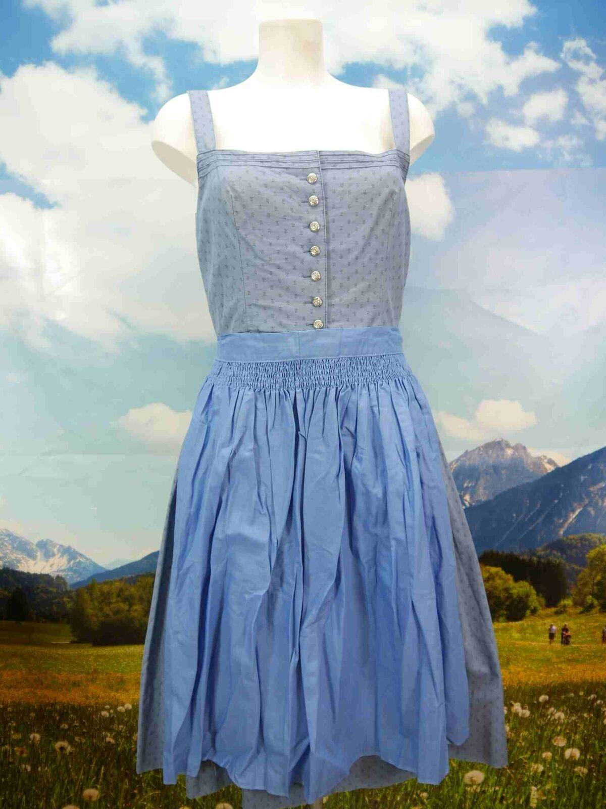 Distler Original Baumwolle blau mit Träger tolles Dirndl mit Schürze Gr.42