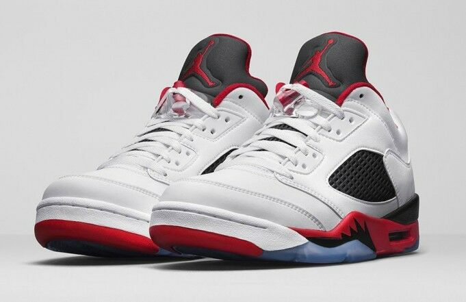 Nike Air Jordan 5 V Retro low White Fire Red size 13.  819171-101. bred silver