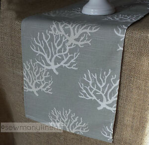Image Is Loading Gray Tan Taupe Table Runner Nautical Coastal Coral