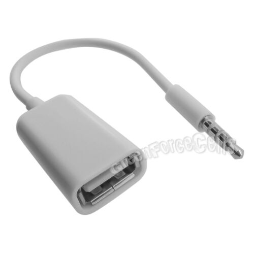 3.5mm Male AUX Audio Plug Jack to USB 2.0 Female Adapter Converter Cable Car LOT