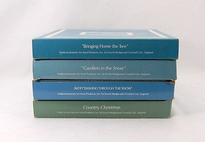 Lot (4) Wedgwood Avon 1976-1980 Christmas Plates w/Boxes Country Tree Home Snow