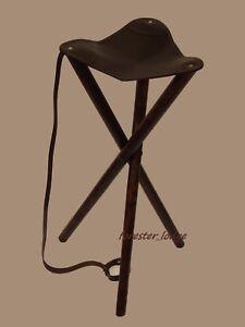 Trépied Chaise Afficher Tabouret Sur CuirCampingPêcheChasse Siège D'origine Pliant Le Bois Détails Marron En Titre rBxedCoW