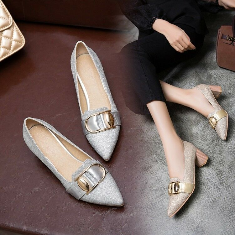 e317cde0511 Women's Sequins Mid Block Heels Pointed Toe Pumps Casual shoes US ...