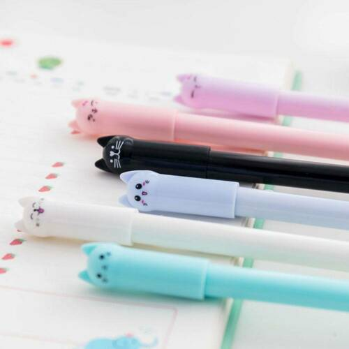 6PCS Kawaii Cute Cat Gel Pen Black Ink Pens Stationery School Office Supply