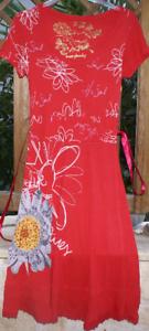 DESIGUAL Kleid rot mit Druck und Perlen Gr. 38   S NEU