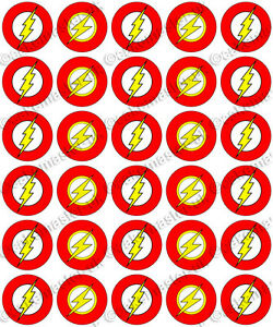 30 X The Flash Logo Party Dc Comics Edible Rice Wafer
