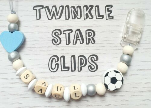 Personalised Wooden Dummy Plastic Clip Football Heart Grey Blue