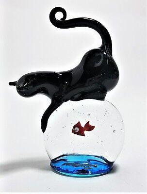 Scultura Murano Collection Boccia Pesce Con Gatto Vetro di Murano Made in Italy