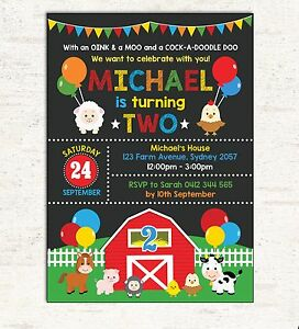Image Is Loading FARM BIRTHDAY INVITATION Cute Barnyard Animals Photo Invite