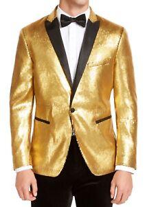 INC Mens Suit Separate Gold Size XL Slim Fit Micro-Sequin Blazer $149 004