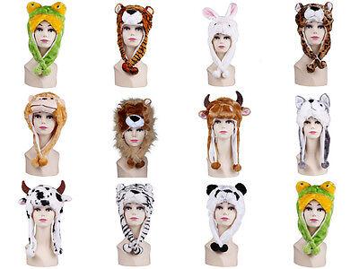 Men Women Hats Caps Scarf Beanies Plush Animal Head Fluffy Earmuff One Size Warm