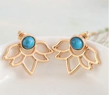 Lotus Flower Earrings front back set turquoise ear jacket Cuff gold stone