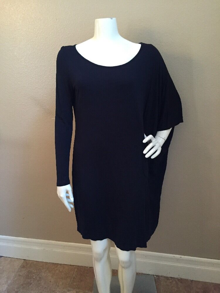 Diana Orving NEW  schwarz 100% Micromodal Draped Tunic Dress Sz M NWOT
