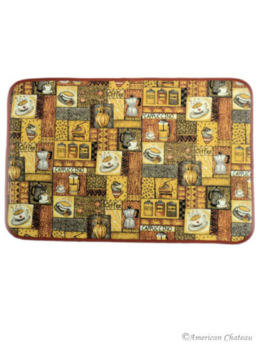 26 X 17 Brown Coffee Java Latte Mocha Cup Kitchen Decor Accent Mat Cafe Rug