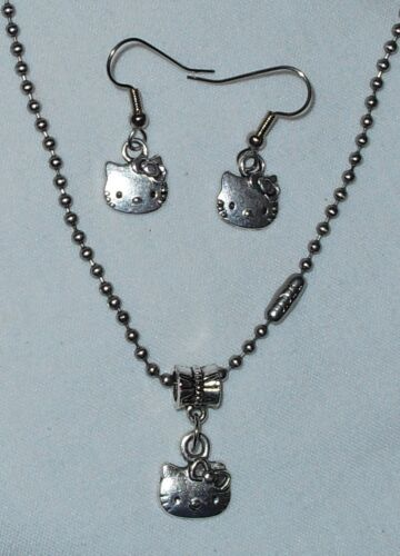 Hello Kitty  Necklace//Earrings Set SStainless Steel Chain made in the USA