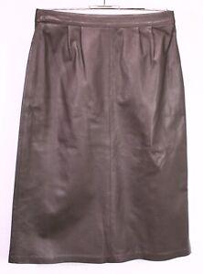 CT53a-Midi-Rock-Vintage-Gr-38-Leder-braun-wadenlang-high-waist-ungetragen