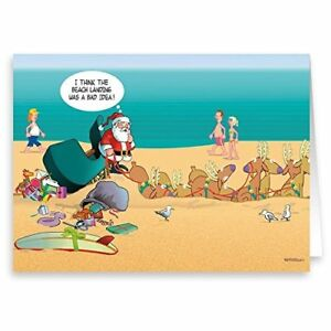 Beach Christmas Cards >> Beach Landing Unsuccessful Funny Christmas Card 18 Cards 19