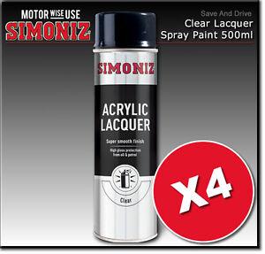 4-x-Simoniz-Large-Clear-Lacquer-Acrylic-Gloss-Aerosol-Spray-Paint-500ml-SIMP22D