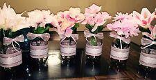 6 Pink Burlap Quart Size Country Rustic Baby Shower Mason Jar Centerpieces 32oz