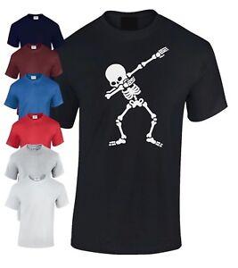 Kids Boys Girls Dabbing Skeleton T-Shirt flossing dance Skull Gamer Tee