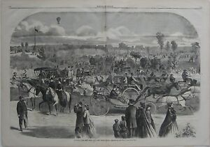 Original CENTRAL PARK NEW YORK CITY Complete Issue 1865 Harper's Weekly Balloon
