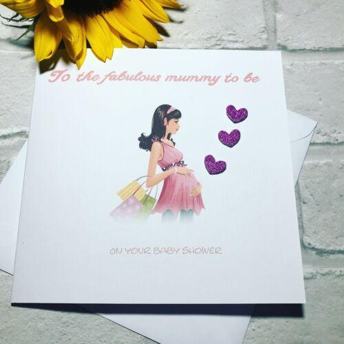 Maman à être Baby Shower Carte Handmade-nouveau né bébé//maman//Maternité Carte