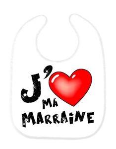 Bavoir bébé message J/'aime ma marraine